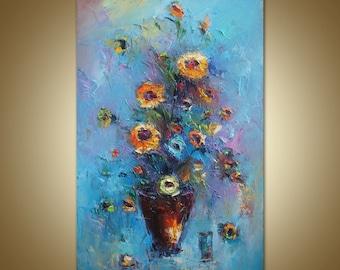 Große Blumen Malerei, Öl, Moderne Kunst, Blumen, Große Leinwand Gemälde,  Originale
