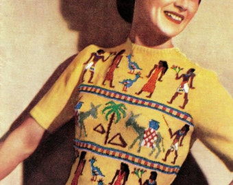 """Vintage 40's Knit PDF Pattern - """"Egyptian"""" Fair Isle Sweater / 1940s - INSTANT DOWNLOAD"""
