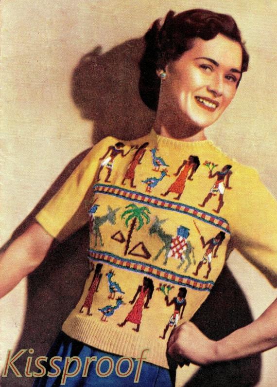 Vintage 40 S Knit Pdf Pattern Quot Egyptian Quot Fair Isle