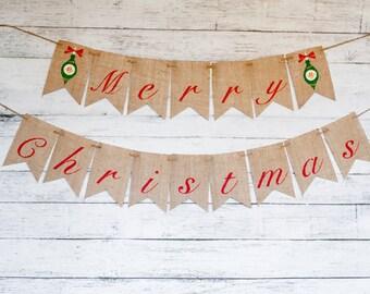 Merry Christmas Banner, Christmas Burlap Banner, Christmas Banner, Christmas Decor, Christmas Signs, Rustic Christmas Decor, B371
