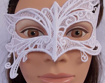 Abstract Embroidered White Lace Mask
