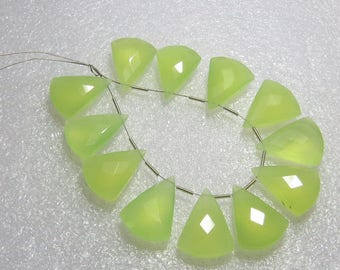 Chalcedony Prehnite Green Color Faceted - 6 Matching Pairs - Fancy Shape - size 15x20 mm