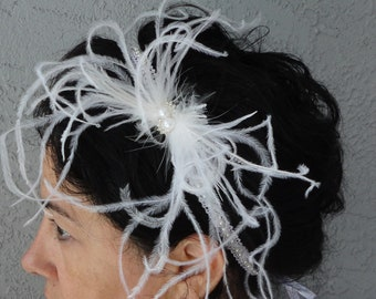 Wedding Bridal White Or Ivory Ostrich And Rhinestone On A Beaded Trim Headband