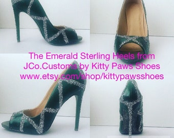 Women's Green Prom Homecoming Wedding Silver Glittered Open Toed Heels Pumps from JCo.Customs by Kitty Paws Shoes