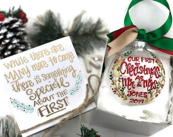 Hand Painted Our First Christmas Married Ornament with Gift Box - Merry Christmas, Newlyweds, Wedding, Mr and Mrs 2017 - Christmas Wedding