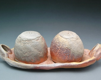 Hand Built and Wood Fired Salt and Pepper Shakers with Serving Tray