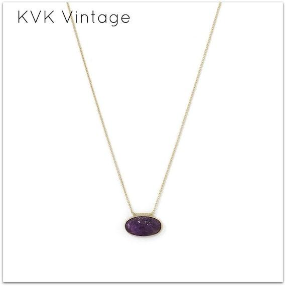 14 Karat Gold Plated Rough Cut Amethyst Slide Necklace