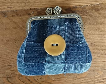 Hand Made Dark blue denim coin purse made with a sew in purse frame - with added lace detail. Upcycled/Recycled Denim.
