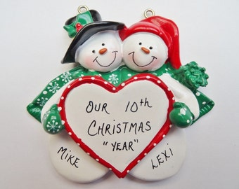 Personalized Snow Couple Christmas Ornament - Anniversary Ornament - Personalized Free