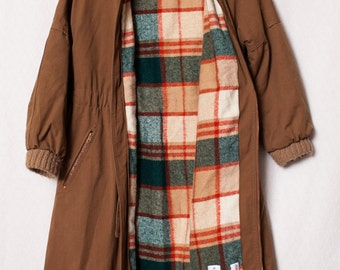 Retro Carhartt Small Ladies Jacket, Marshall Fields Company Vintage Plaid Trench Wool Brown Jacket