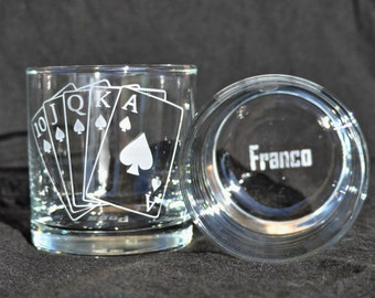 Personalized Royal Flush Etched  Pair of Rocks Glasses, Poker Cards, Poker Player, Monogrammed for the Gambler, by Jackglass on Etsy