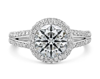 0.66ct Pavé Side Diamonds in 14K White Gold Semi Mount Halo Engagement Ring (NO CENTER STONE)