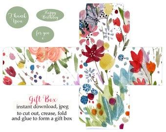 gift box, printable, watercolor clip art, watercolor, printable gift box, instant download