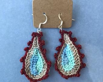 Crocheted Picot Paisley Earrings/ Burgundy, Tan, and Blue Earrings/ Jewelry
