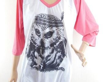 Size XL : Baby Owl Indian Shirt Owl Handmade Owl shirt animal shirt graphic shirt teen shirt gift Women Tshirt baseball Tshirt Raglan Tshirt