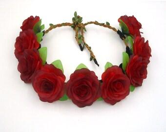 Red Flower Crown,Red Rose Headband,Red Rose Crown,Red Flower Headband,Girls,Women,Adult,Wedding Bridal Bridesmaids Floral Crown,Hair Wreath