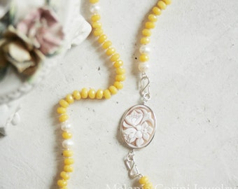 YELLOW Necklace with 925 sterling silver findings -jade and freshwater pearls, authentic shell cameo - flowers pattern - Sardonyx shell