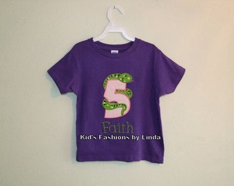 Personalized Girl Snake Birthday Tshirt