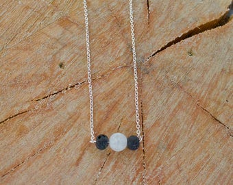 Crystal lava stone diffuser necklace