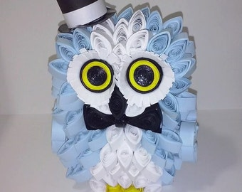 Paper quilling Elegant blue owl with cylinder and bow tie-paper owl-decoration for the house-lucky Gift
