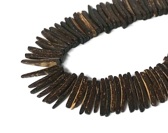 Coconut Wood stick beads, top drilled natural dark brown coconut palm spikes, tribal rustic, full strand (1152R)