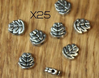 Set of 25 spacer beads in the shape of silver oak leaf