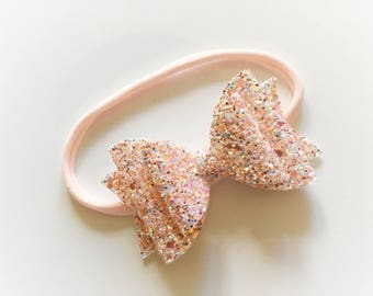 Double glitter bow (peach with aqua sparkles) on nylon headband - baby toddler headbands, one size headband