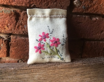 Lavender bag, large lavender bag, lavender sachet, scented draw , hand embroidered, lavender