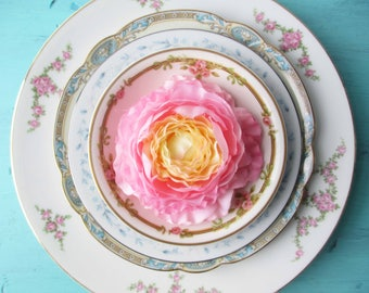 Mismatched Plate Bowl Collection Blue Pink Floral Set of Four