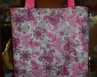 Paisley Pink Tote Bag Floral Retro Fun Book or Lunch Bag Great Gift Handmade Purse