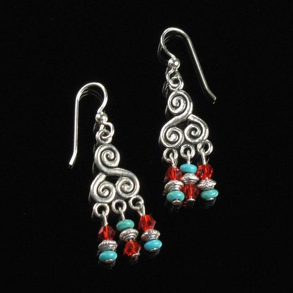 Tibetan Earrings, Silver Boho Chandelier Earrings, Unique Nepal Jewelry, Red Turquoise Silver Earrings, Tibetan Jewelry Gift for Girlfriend