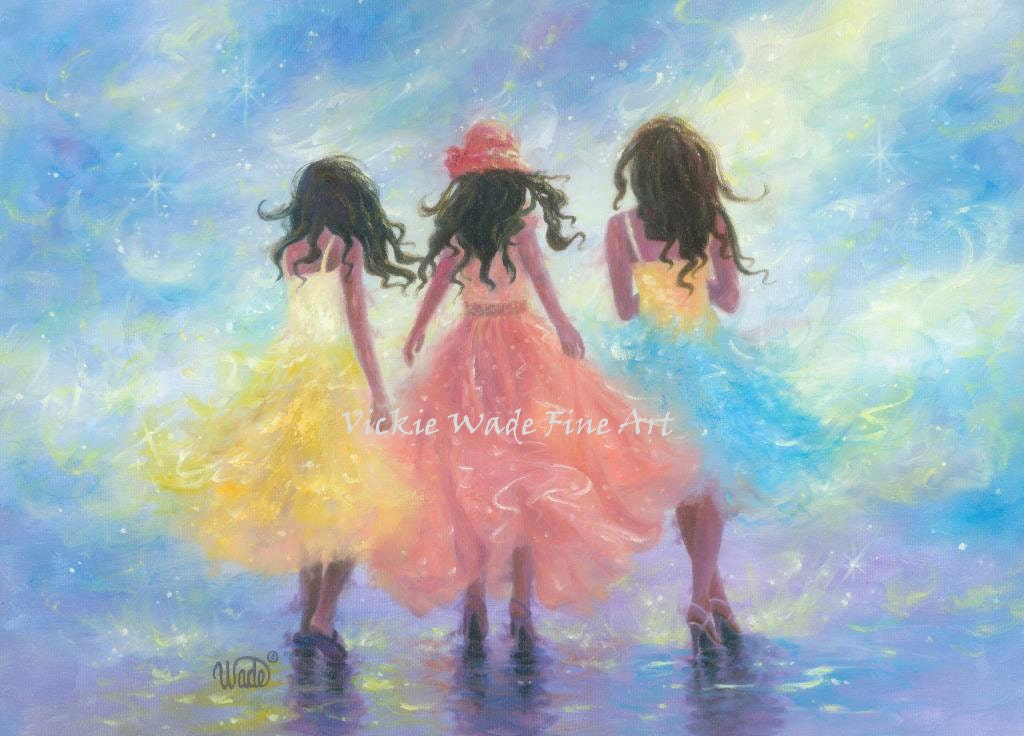 Three Sisters Art Print Three Girls Fashion Pastel Spring