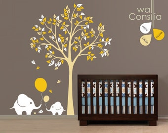 """Baby Nursery Wall Decals Large Tree Wall Decal Balloon Elephant Wall Art Sticker Decal Mural - Large: approx 83"""" x 75"""" - K006"""