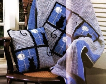 Cat Afghan And Pillow, Crochet Pattern. PDF Instant Download.