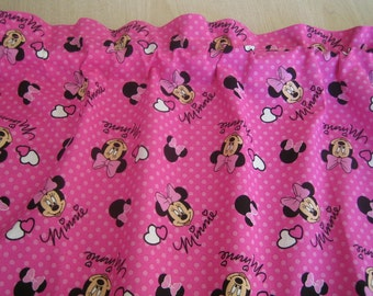 "Minnie Mouse Curtain Valance 41"" wide x 15"" long/height in 100% Cotton - Handmade New."