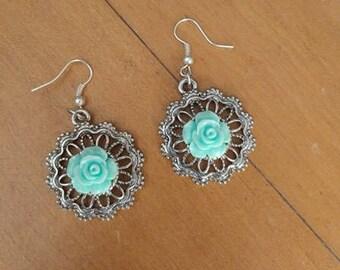 Teal Rose mandala earrings