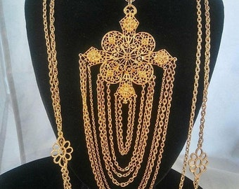 ON SALE Rare Large GOLDETTE Bib Runway Statement Necklace 1960's 1970's Hollywood Regency Glam Vintage Collectible Runway Designer Jewelry