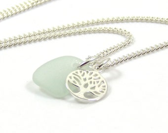 Seamist Sea Glass Sterling Silver Tree of Life Charm Necklace