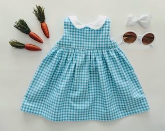 3-6 Mo Teal Gingham Girls Dress