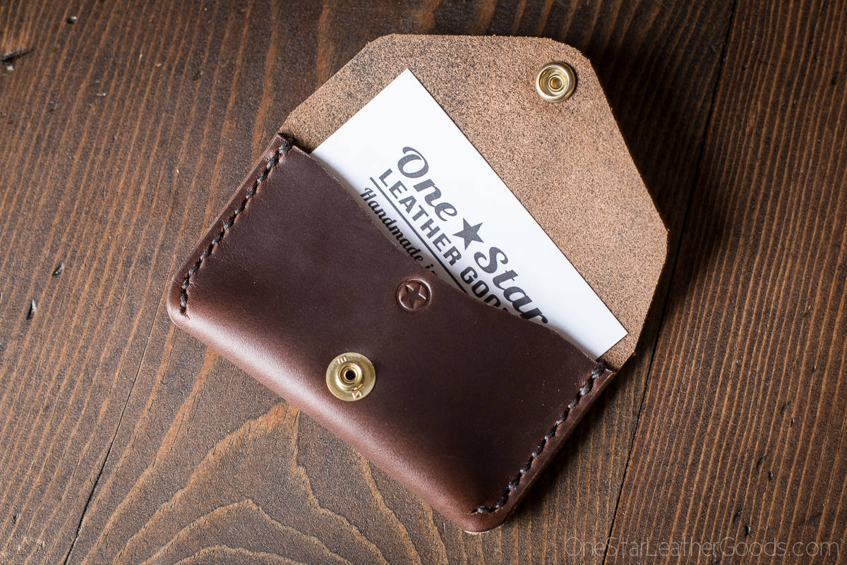 Coin pouch / wallet / business card case with snap, Horween ...