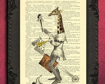 Giraffe art | vintage dictionary print fantasy art  | whimsical giraffe with hobby horse | illustration of jester on stick horse