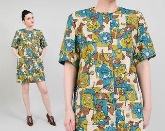 60s Floral Dress | Mod Mini Dress | Short Sleeve Twiggy Dress | 1960s Shift Dress with Pockets | Blue Green Brown | Small Medium S M