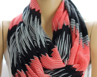 Black Red Silk Chiffon infinity scarf, Loop scarf, Circle scarf, Women Scarf, Accessories, Woman Scarves, Fashion Accessories, Infiinity