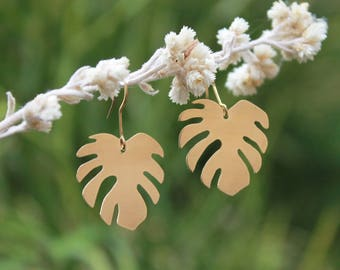 Mini Monstera Earrings | Full Brass Earrings | Plant Lady | Monstera Earrings | Leaf Earring | Plant Lovers | Made-To-Order