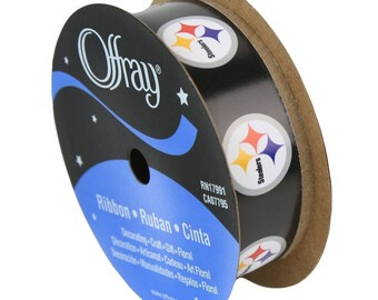 "7/8"" NFL Pittsburgh Steelers Ribbon, 9 feet, Licensed NFL Offray Ribbon"