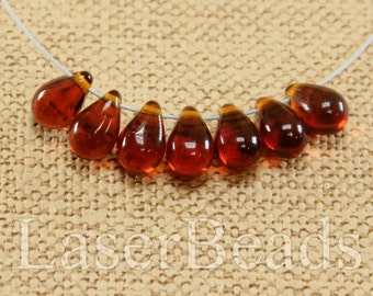 Teardrop beads 30pc 9mm Dark topaz tear drops Czech glass teardrop beads Brown beads Tear drop beads Brown teardrops Small top drilled