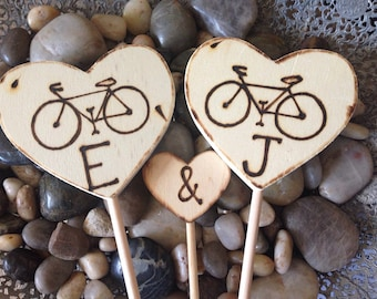 Bicycle Cake Toppers Personalized with Initials Wedding Cake Toppers Wood Hearts Engagement Decorations 3 PC set Portland Minnesota Cycle
