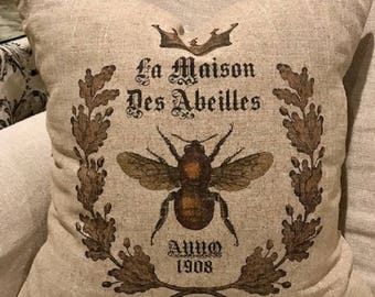 French Bee Down Filled Decor Pillow