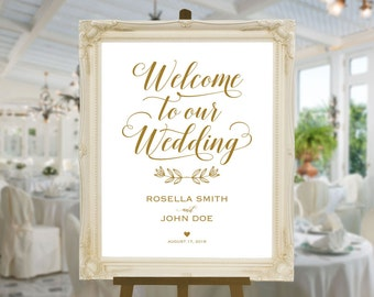 Gold Wedding Welcome Sign Template, Welcome to Our Wedding, DIY Welcome Sign, printable welcome sign, Wedding Welcome Poster, WPC_416