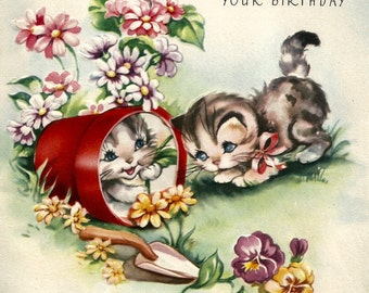 Retro vintage birthday card cute kittens cats digital download printable instant image